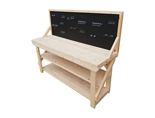 Wooden Acorn Workbench With Two Shelves With Peg Board – 46 Piece Peg Kit INCLUDED – 4FT To 6FT – Made Of Kiln Dry Timber – Industrial/Garage Work Table Handmade (4ft)