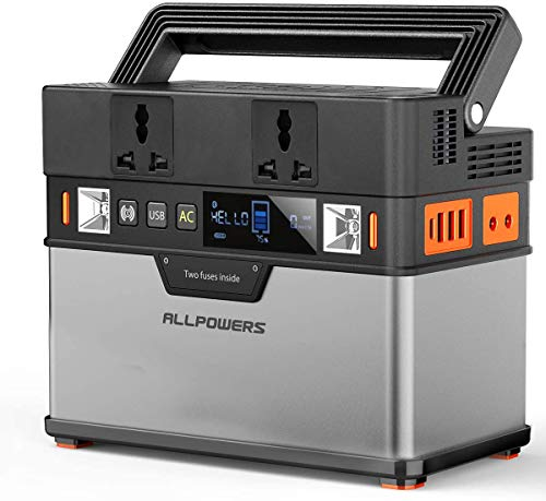 ALLPOWERS Portable Generator 372Wh Power Station Emergency Power Supply with DC/AC Inverter, PD Technology, Wireless Output, Charged by Solar Panel/Wall Outlet for Camping