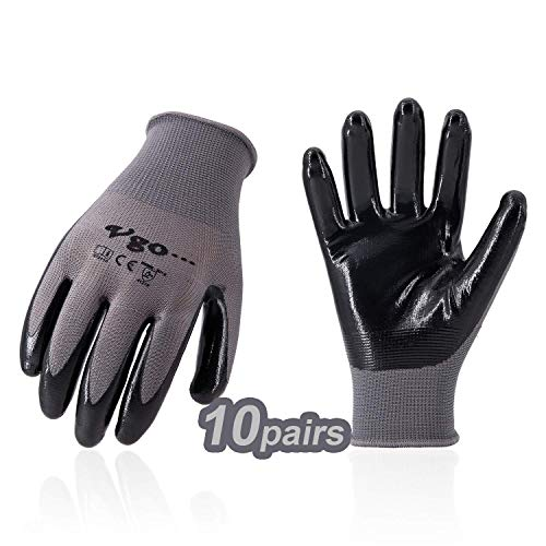 Vgo 10Pairs Nitrile Coated Men's Work Gloves and Gardening Gloves, Builder Gloves, Construction, Mechanic, General Purpose (Size 8/M, Gray, NT2110)