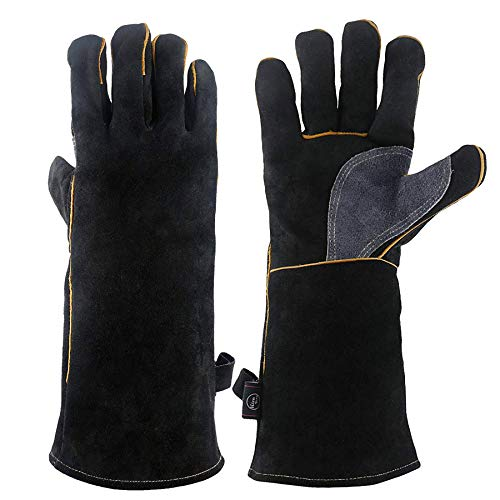 KIM YUAN Extreme Heat & Fire Resistant Gloves Leather with Kevlar Stitching,Perfect for Fireplace, Stove, Oven, Grill, Welding, BBQ, Mig, Pot Holder, Animal Handling, Black-Grey 14in/35cm