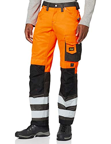 Snickers 32335574062 Size 62 Class 2 High-Vis Trousers – Orange/Muted Black