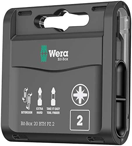 Wera Bit-Box 20 BTH PZ2 BiTorsion Long Life Timber bits for drill/drivers, Pozi 2x25mm, 20pc pack, 05057762001