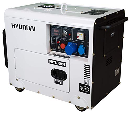 Hyundai 5.2kW Silenced Diesel Generator, 5.2 W, 230 V, White and Black, DHY6000SE