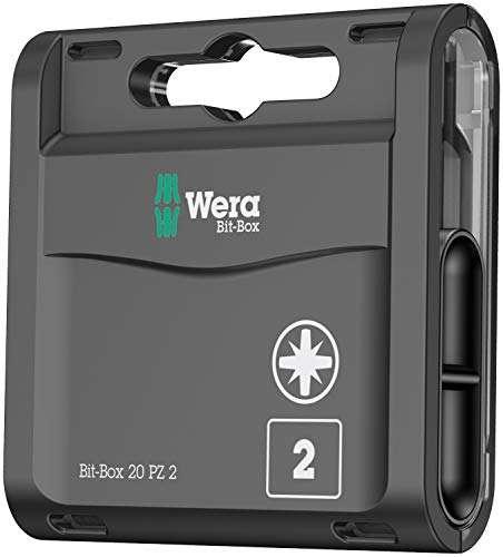 Wera Bit-Box 20 H PZ2 Extra Hard bits for drill/drivers, 25mm, 20pc pack, 05057760001