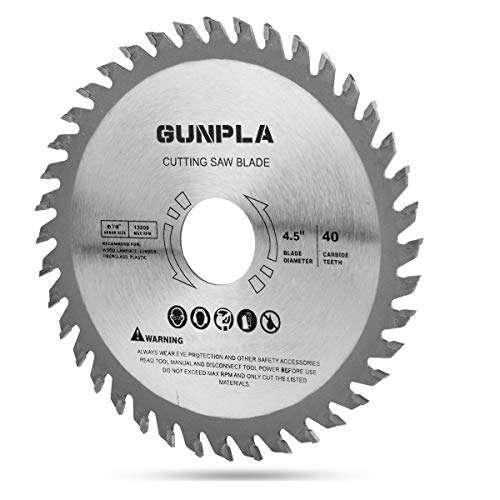 Gunpla 115mm Circular Saw Blade Alloy Steel Wood Cutter 40 Teeth Carbide 4.5 inch TCT Finishing Saws for Wood Cutting Woodworking 7/8 inch Arbor 22.23mm