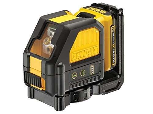 Dewalt 0.8V Self Leveling Cross Line Green Laser (1 x 2.0Ah Battery), Black/Yellow, 1 x 10.8 Volt 2.0Ah Li-Ion