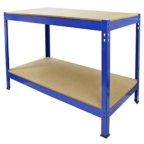 Work Bench Garage Table/Metal Storage Shelving DIY Tools Heavy Duty Workbenches Workshop Shed / 2 Shelves 90cm x 120cm x 60cm (Blue)