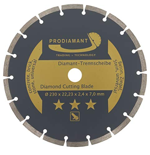 PRODIAMANT Diamond Cutting Disc 230mm 9inch x 22,23 M14 Concrete, Stone, Brick, Universal Saw Blade for Dry and Wet Cutting, Gold