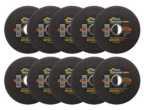NOVOABRASIVE Synthetic Cutting Discs 115 x 1.0 mm, pack of 10 pcs for Stainless Steel and Metal – metal cutting slitting discs. Industrial high quality