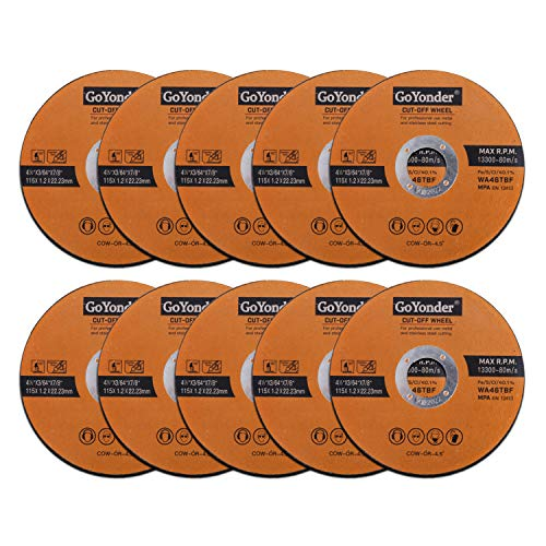 GoYonder 115 x 1.2mm Ultra Thin Stainless Steel Cutting Discs for Angle Grinder,4.5″ Cutting Blades for Metal,Stainless Steel Pipes,Steel Cables, and Non-ferrous Metals Pack of 10