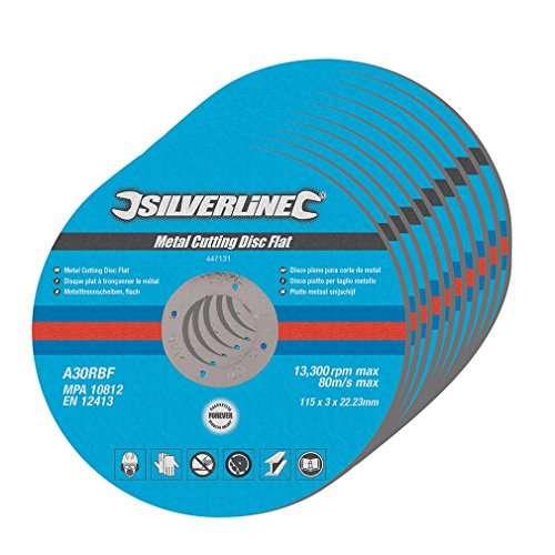 Silverline 447131 Metal Cutting Discs Flat, 115 x 3 x 22.2 mm – Pack of 10