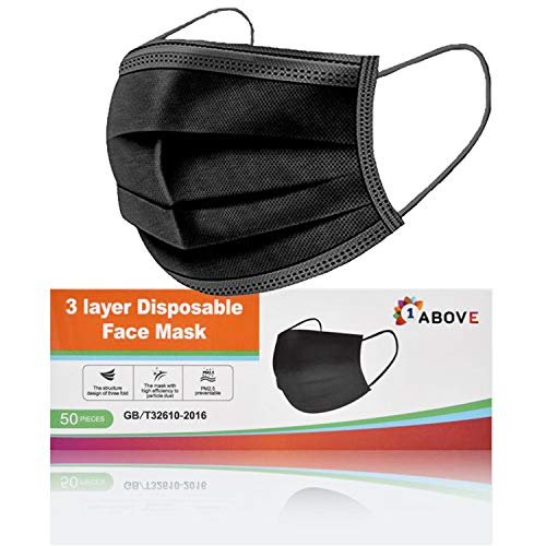 1Above 50pk- Disposable 3-Layer Face Masks, High Filterability, Suitable For Sensitive Skin (Black)
